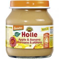 Potito de Manzana y Plátano Ecológico, 125g Holle